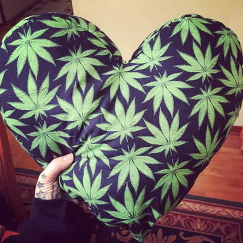 Ganja Heart Shaped Weed Pillow