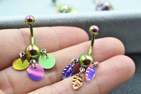 50 Piece 14G Rainbow Dangle Belly Button Ring (Lot)