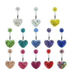 13 Piece Glitter Heart Belly Button Ring (Lot)