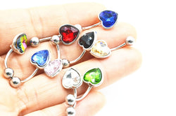 50 Piece Heart Shaped Crystal Gem Belly Button Ring (Lot)