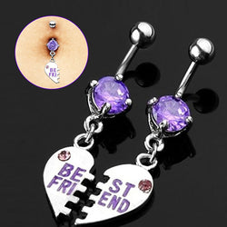 1 Pair Purple Stone Best Friend Split Heart Dangle Belly Button Ring