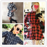 Plaid Print Vintage Shirt Style Casual Mini Dress