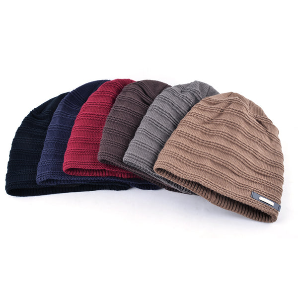 Mens Striped Winter Beanie