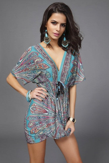 Vintage Bohemian Flower Print Summer Dress