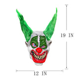 Latex Scary Green Haired Silly Big Grin Clown Mask