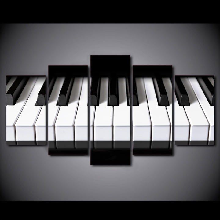 Piano Keys Wall Art Canvas - 5 Panels