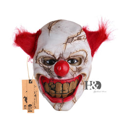Scary Clown Latex Mask Big Mouth Red Hair