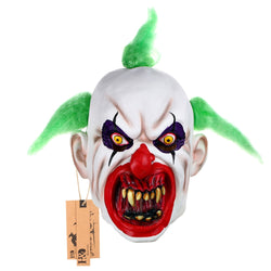 Latex Scary Clown Mask Green Spiked Hair Bad Teeth