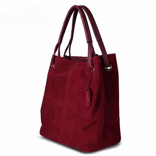 Real Split Suede Leather Tote Bag