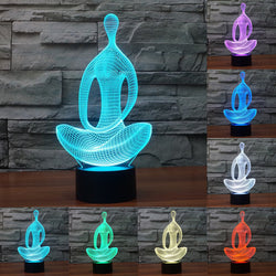Acrylic 3D Illusion LED Lamp - Meditating Pose