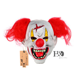 Latex Scary Clown Mask With Red Nose Hair