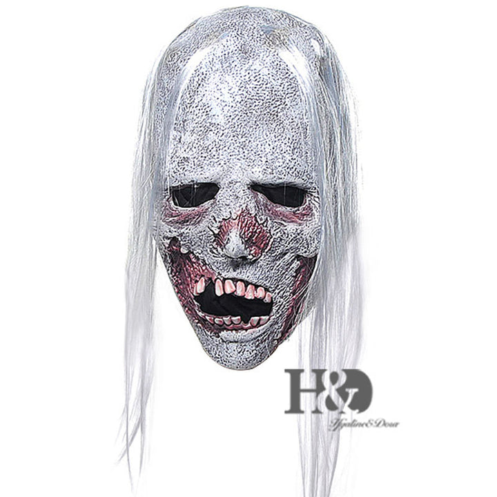 Latex Horror Creepy White Hair Zombie Mask