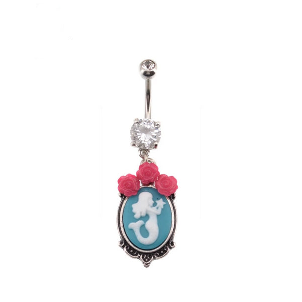 Vintage Style Mermaid Rose-Topped Dangle Belly Button Ring