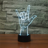 Acrylic 3D Illusion LED Lamp - Rock On Symbol