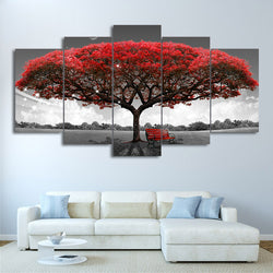 Big Red Leaf Tree Wall Art Canvas - 5 Pieces
