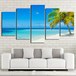 Clear Blue Ocean Seascape Wall Art Canvas - 5 Pieces