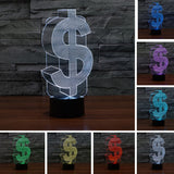 Acrylic 3D Illusion LED Lamp - Dollar Symbol