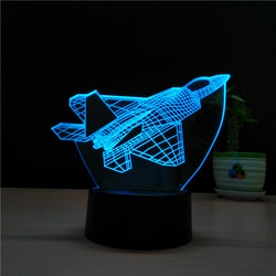 Acrylic 3D Illusion LED Lamp - Jet Airplane