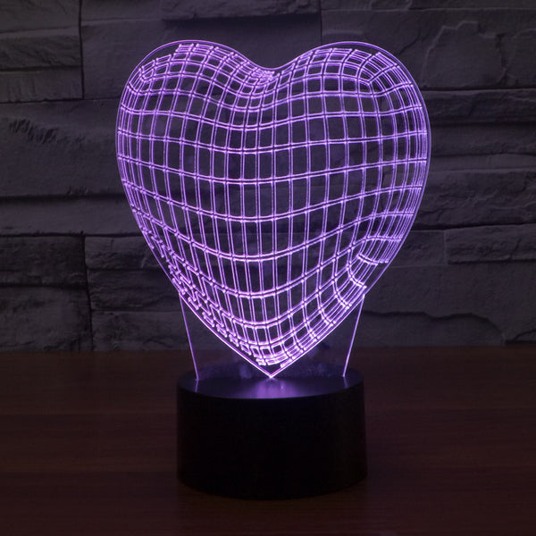 Acrylic 3D Illusion LED Lamp -  Heart