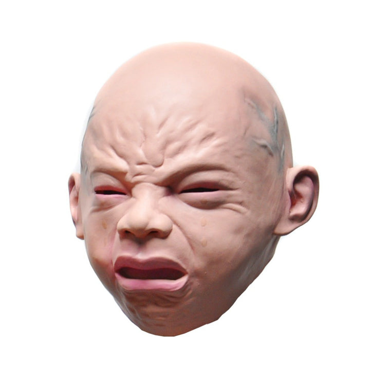 Adult Crying Baby Halloween Mask - Latex - Full Head