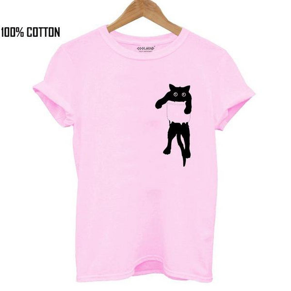 100% Cotton Cat Print Short Sleeve Casual T-Shirt