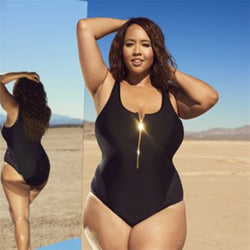 Sexy Black Plus Size Zipper Front MonoKini Swimsuit