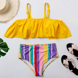 Plus Size Rainbow Stripes and Ruffles Bikini Set