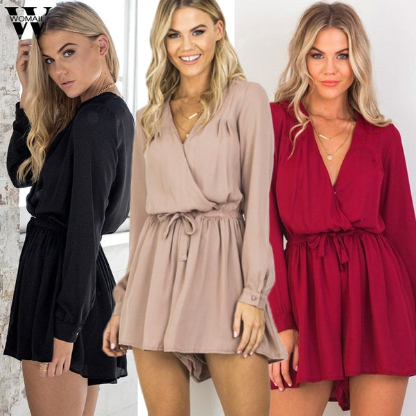 Sexy Summer Long Sleeve V-Neck Chiffon Romper