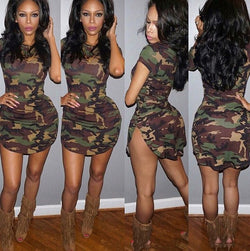 Sexy Summer Short Sleeve Mini Dresses - Green Camouflage