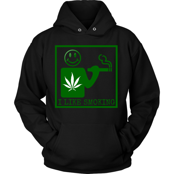 Unisex I Like Smoking Hoodie - Green Square