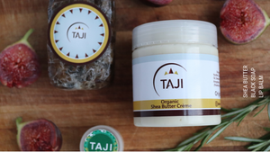 taji shea butter, african black soap and lip balm