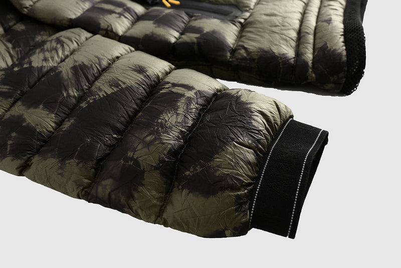 Olive Tie Dye Puffer - Packable Airplane Pillow