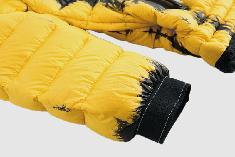 Yellow Tie Dyed Puffer - Packable Airplane Pillow