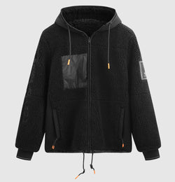 Reversible Tech Sherpa Hooded Coat - Black