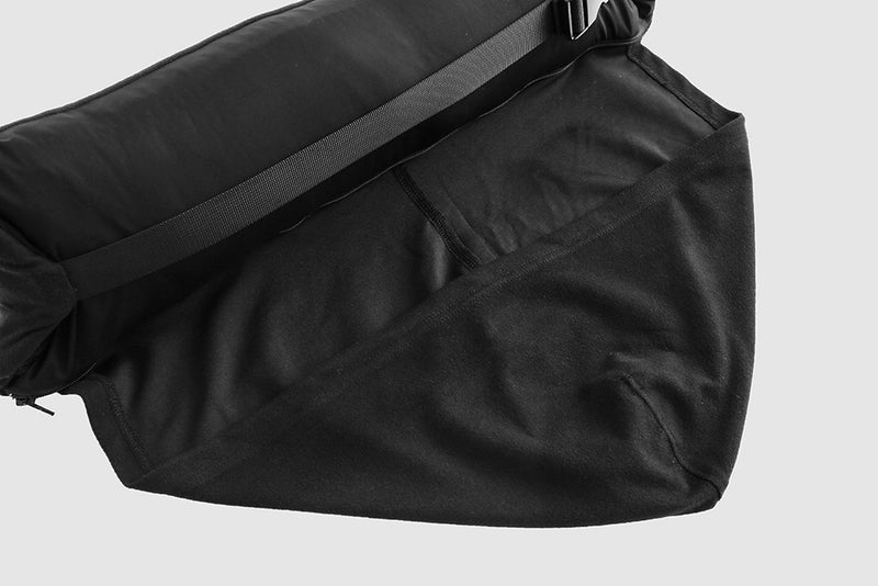 Black Down Puffer - Packable Airplane Pillow