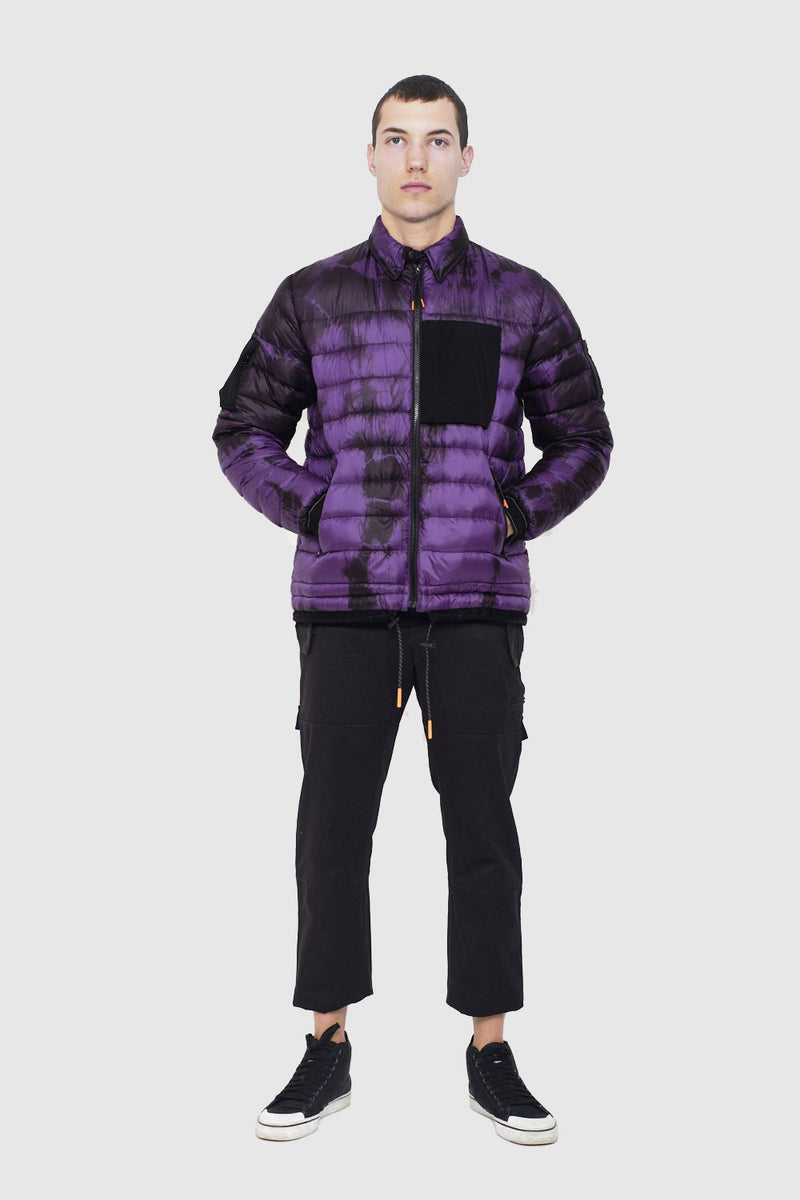 Purple Tie Dyed Puffer - Packable Airplane Pillow