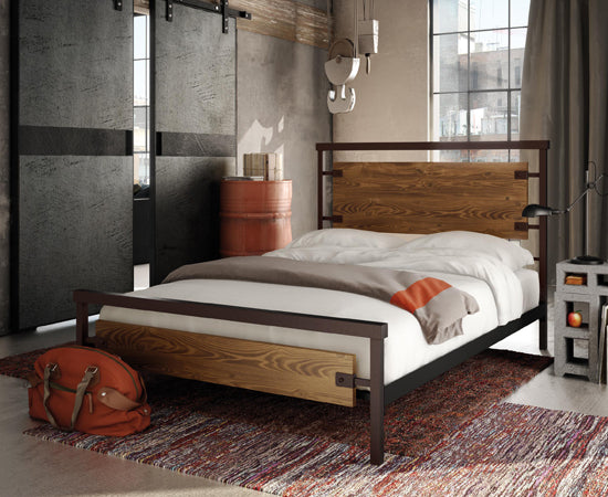 Metal and wood industrial style bed