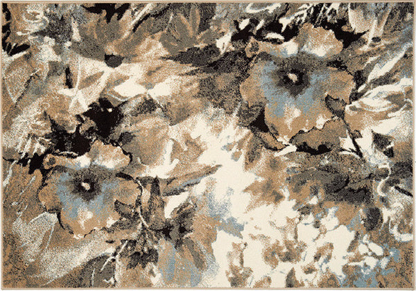 Blue, cream and brown area rug with a floral design
