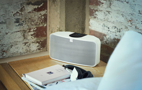 White BLUESOUND speaker