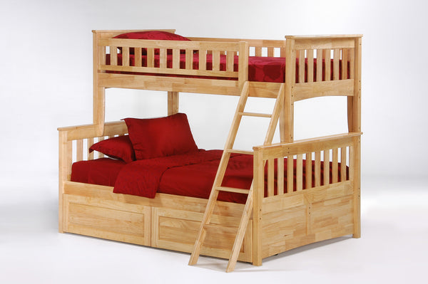 Ginger Single/Double Bunk Bed w/Drawers - Oak