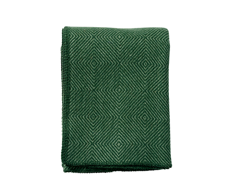 100% Brushed Lambswool Green Throw