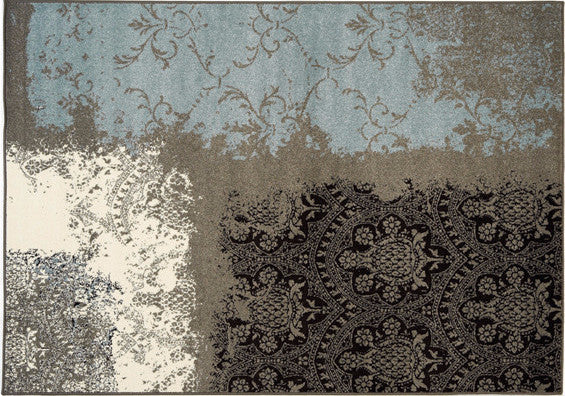 Blue, cream, grey and black area rug by Kalora