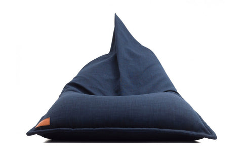 Low canvas bean bag lounger in blue with rope handle