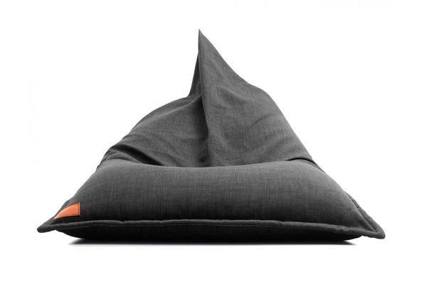 Low canvas bean bag lounger in grey with rope handle