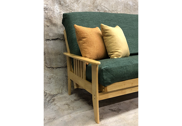 Medina Futon Frame in Natural Finish with Green Futon Cover