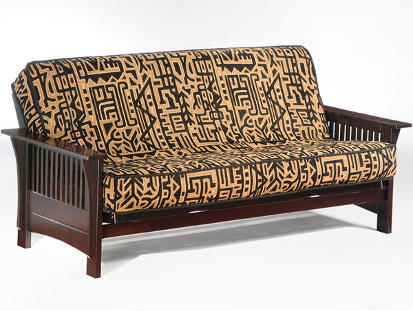 Wood futon frame in dark chocolate stain
