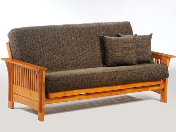 Wood futon frame in honey oak stain