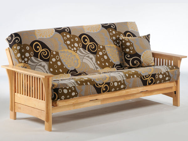 Wood futon frame in natural stain