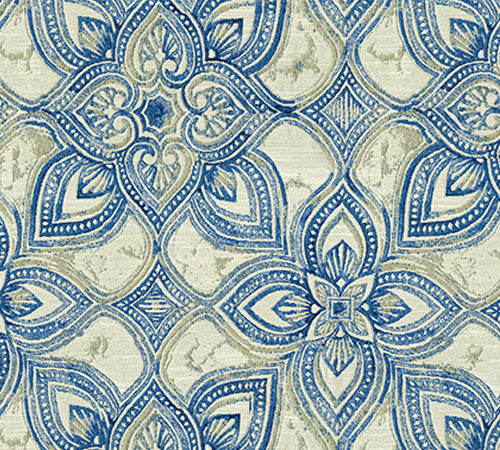 Blue and cream patterned fabric