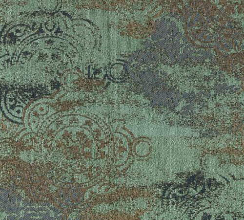 Teal and brown patterned fabric